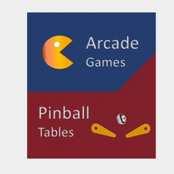 Arcade games and pinball tables graphic
