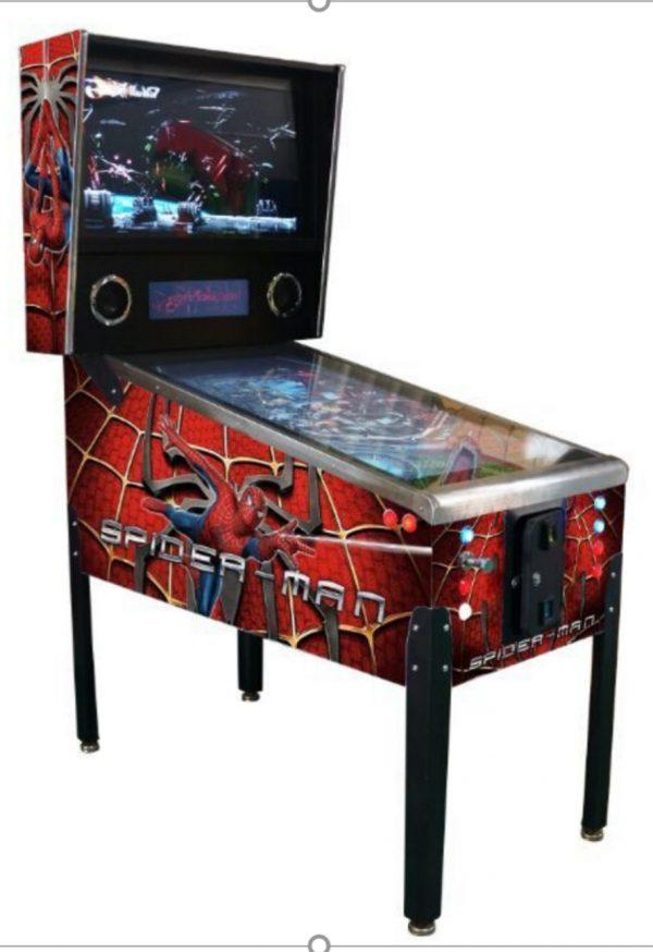 spiderman themed virtual pinball machine