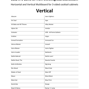 1162 in 1 Arcade Game List Vertical