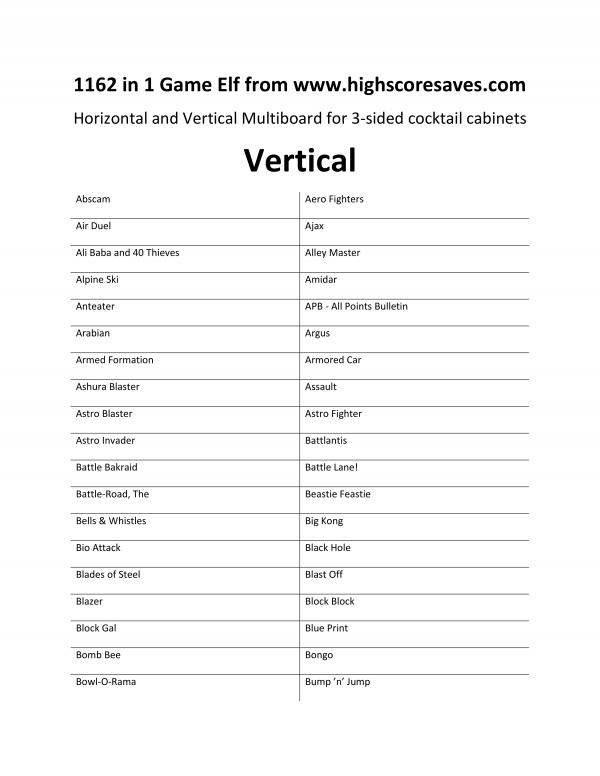 1162 in 1 Arcade Game List Vertical